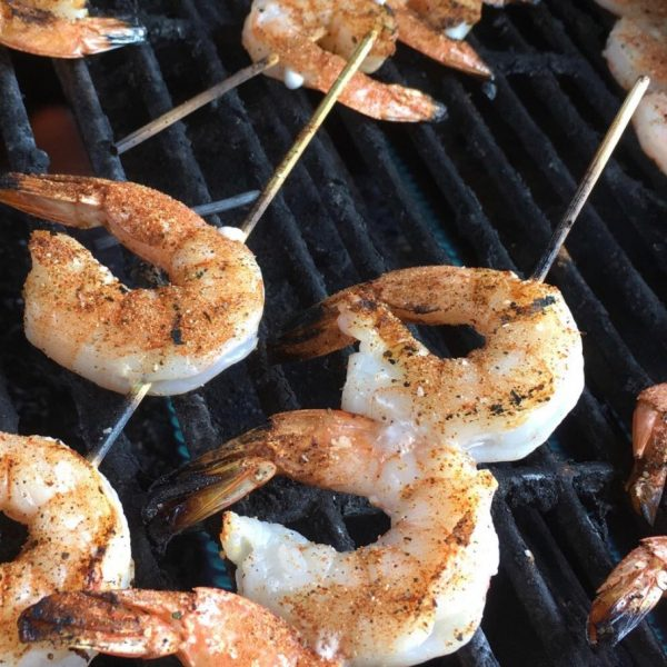 Shrimp Skewers with Homemade White Herb BBQ Sauce (GF)
