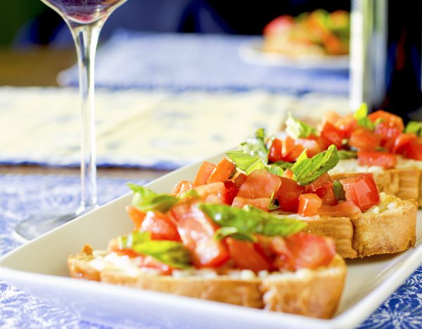 Tomato Bruschetta with/out Fresh Mozzarella (Available GF, Vg)