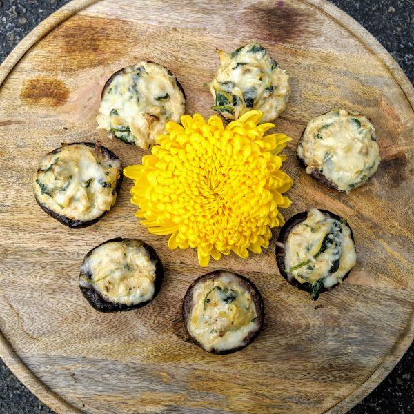 Creamy Spinach Artichoke Stuffed Mushroom (GF, Vg)